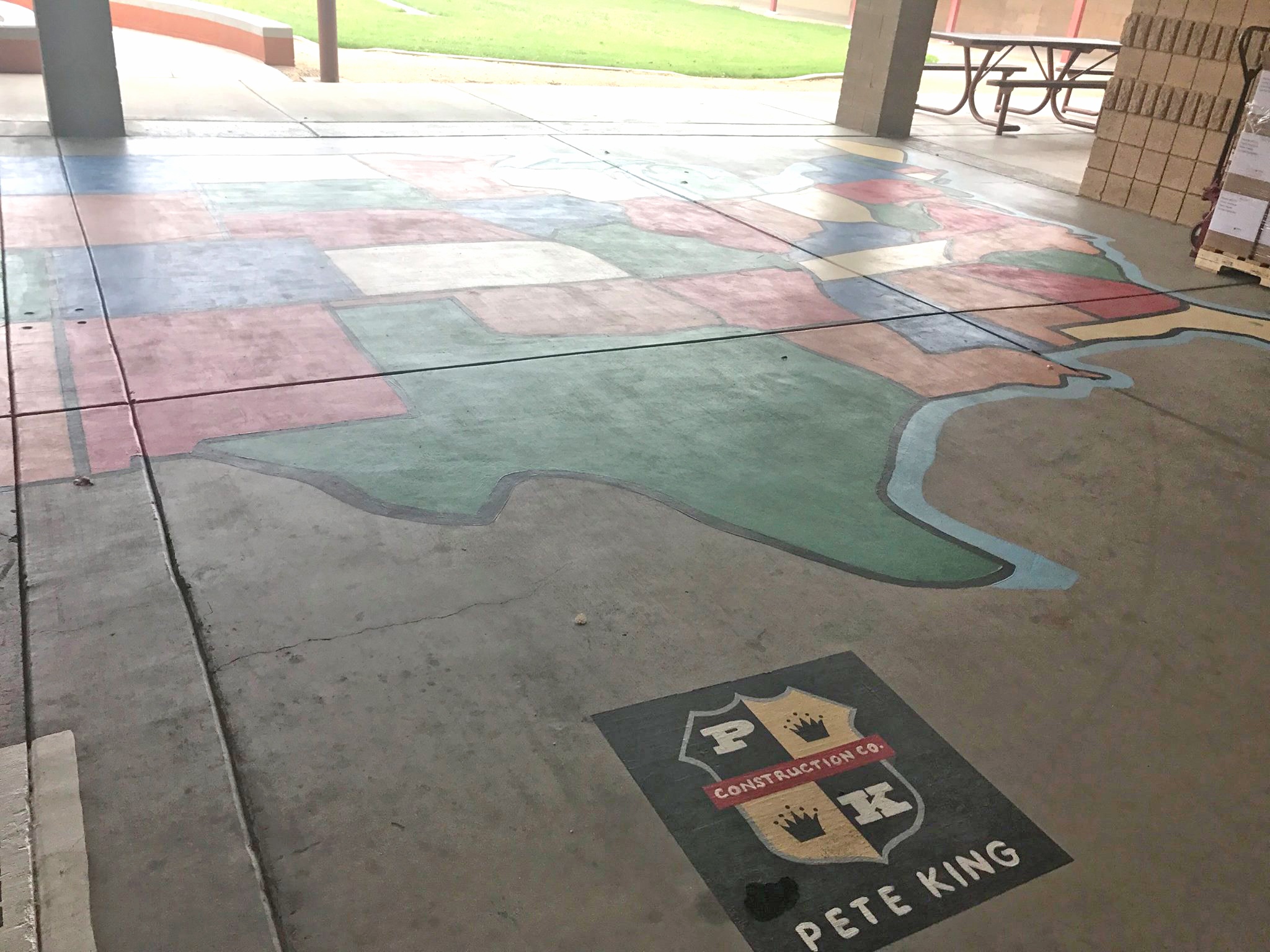 Pete King Construction Donates Map for Sunrise Elementary School